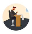 guy hipster at work vector image vector image