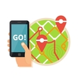 Hand holding mobile searching on the map Virtual vector image