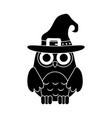 happy halloween cute owl with witch hat trick or vector image