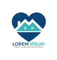 house and heart logo design vector image vector image