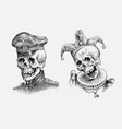 human skull sailor or seaman and the jester vector image vector image