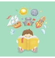 Imagination concept boy reading a book rocket vector image