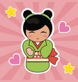 kokeshi doll cute hearts background vector image vector image