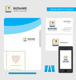 love diary business logo file cover visiting card vector image vector image