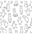 monochrome rabbits vector image
