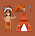 native american indian character teepee axe and vector image vector image