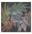 outline weman on dark floral vector image vector image