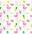 pattern with flamingo birds and fruits vector image