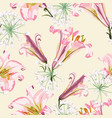 pattern with pink lilies and white flowers vector image vector image
