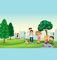 people spend holiday in park vector image vector image