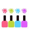 Pink blue violet green nail polish varnish icon vector image vector image