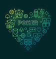 poker concept heart-shaped colorful outline vector image vector image
