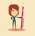 portrait of a young smiling woman holding a pen vector image