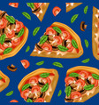 realistic detailed 3d pizza seamless pattern vector image vector image