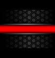 red banner silver line on black metal hexagon mesh vector image vector image