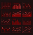 red business charts and graphics set vector image vector image