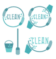 Set of cleaning labels with mop vector image