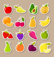 set of fruit and berries stickers vector image