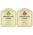 set of two wine labels with vine leaves vector image vector image