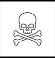 skull crossbones minimalist line icon vector image