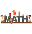 students character on math logo vector image