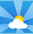 sun with clouds and blue beams vector image