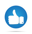 thumb up icon on blue circle background vector image vector image