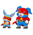 two rabbit in a superhero costume vector image vector image