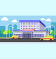 urban hospital building exterior with ambulances vector image
