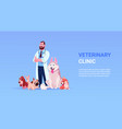 veterinary clinic poster with male vet doctor and vector image