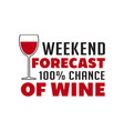 wine quote and saying weekend forecast chance of vector image