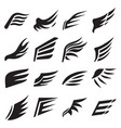 wings silhouettes of bird feathers heraldic icons vector image