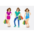 women carrying shopping bags vector image vector image