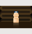 yakult bottle on brown bg vector image