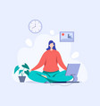 yoga mind computer restart your work day vector image vector image