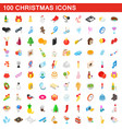 100 christmas icons set isometric 3d style vector image vector image