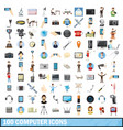 100 computer icons set cartoon style vector image