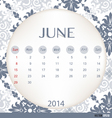 2014 calendar vintage calendar template for June vector image