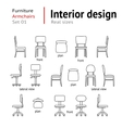 Architectural thin line icons set Furniture vector image