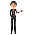 asian business man with a cup of tea vector image