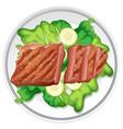 beef steak and salad vector image vector image