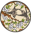 birds with flowers birds with flowers vector image