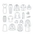 business woman basic clothes and shoes line icons vector image