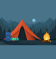 camping tourist hiking outdoor adventure travel vector image vector image