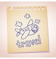 cartoon airplane mascot note paper sketch doodle vector image vector image