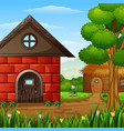 cartoon barnhouse with a cabin in the farmland vector image