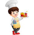cartoon chef cooking holding a fast food tray vector image