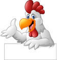 cartoon rooster holding blank sign vector image vector image