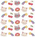 cat shotting stars cherry background vector image
