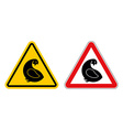 Chicken warning sign of attention Danger of yellow vector image vector image
